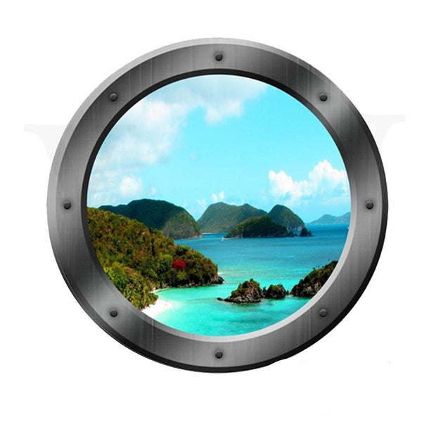 VWAQ Ocean Mountain View Peel and Stick Porthole Vinyl Wall Decal - VWAQ Vinyl Wall Art Quotes and Prints no background