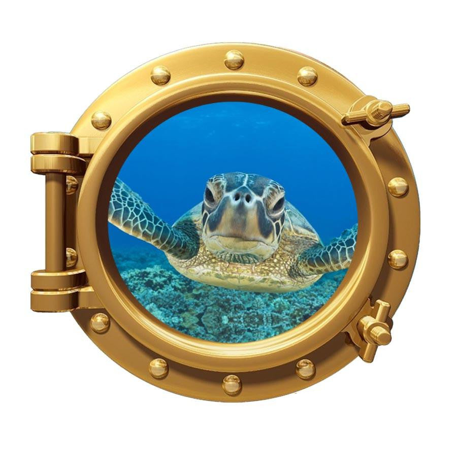 Sea Turtle Porthole Window Underwater Ocean Room Decor Peel Stick Wall Art PO97