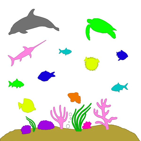 VWAQ Under the Sea Peel & Stick Ocean Life Colorful Wall Decals - POF1 no background