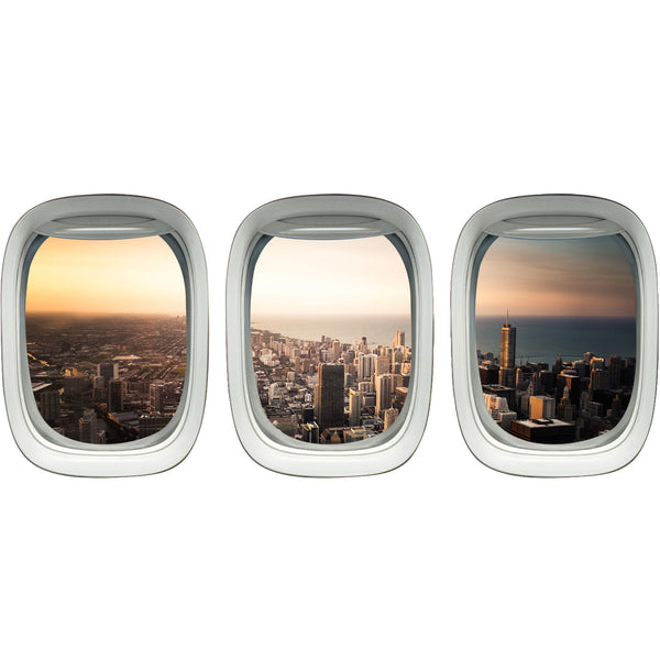 VWAQ Pack of 3 Chicago City Skyline Peel and Stick Vinyl Wall Decals - VWAQ Vinyl Wall Art Quotes and Prints no background