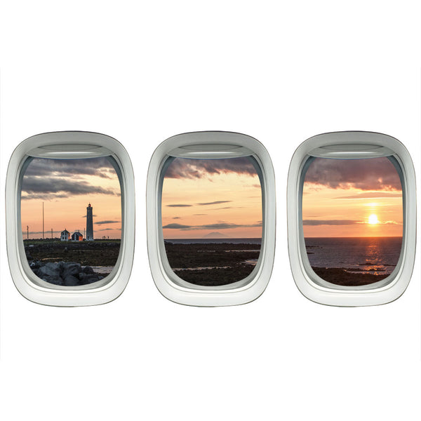 VWAQ Pack of 3 Airplane Window Lighthouse View Peel and Stick Vinyl Wall Decal - VWAQ Vinyl Wall Art Quotes and Prints no background