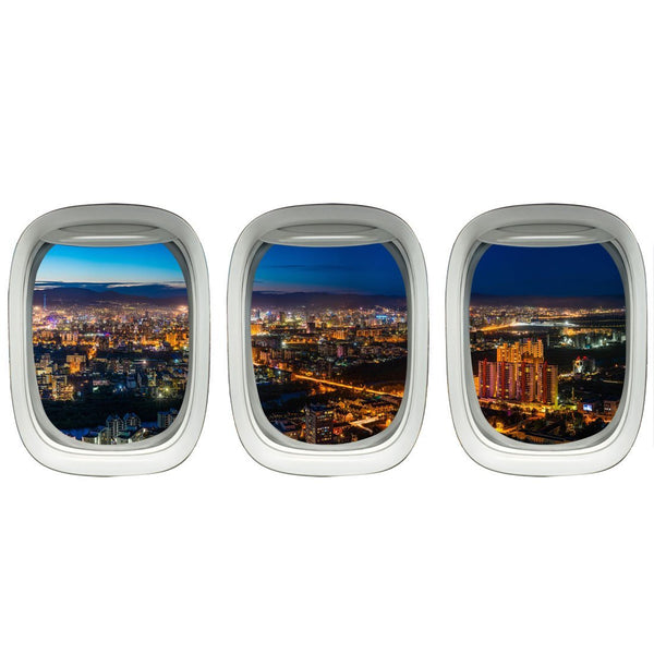 VWAQ Pack of 3 Airplane Window City View Peel and Stick Vinyl Wall Decals - PPW19 - VWAQ Vinyl Wall Art Quotes and Prints