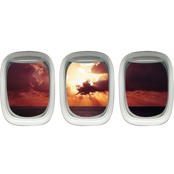 VWAQ Pack of 3 Airplane Window Sunset Scene Vinyl Wall Decals - PPW1 - VWAQ Vinyl Wall Art Quotes and Prints