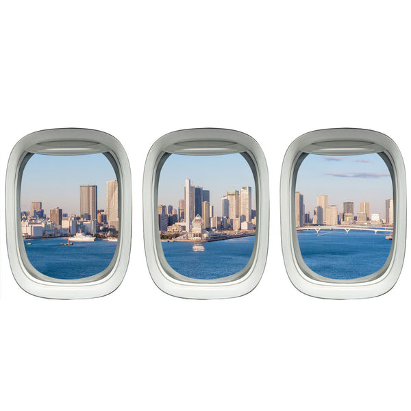 VWAQ Pack of 3 Airplane Window Tokyo Scene Vinyl Wall Decals - VWAQ Vinyl Wall Art Quotes and Prints no background