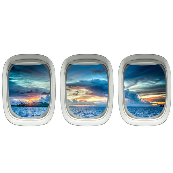 VWAQ Pack of 3 Airplane Window Peel & Stick Vinyl Wall Decals - VWAQ Vinyl Wall Art Quotes and Prints no background