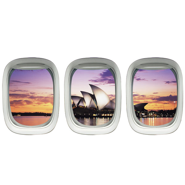 VWAQ Pack of 3 Airplane Window Sydney Opera House View Peel and Stick Wall Decals - VWAQ Vinyl Wall Art Quotes and Prints no background