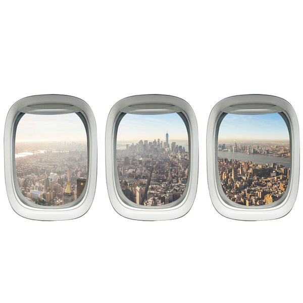 VWAQ Plane Window Decal Aviation Window Decal City Skyline Wall Cling - VWAQ Vinyl Wall Art Quotes and Prints no background