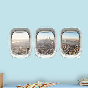 VWAQ Plane Window Decal Aviation Window Decal City Skyline Wall Cling - VWAQ Vinyl Wall Art Quotes and Prints
