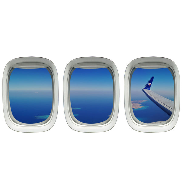VWAQ Pack of 3 Airplane Window Ocean Wing View Peel n Stick Vinyl Wall Decals - VWAQ Vinyl Wall Art Quotes and Prints no background