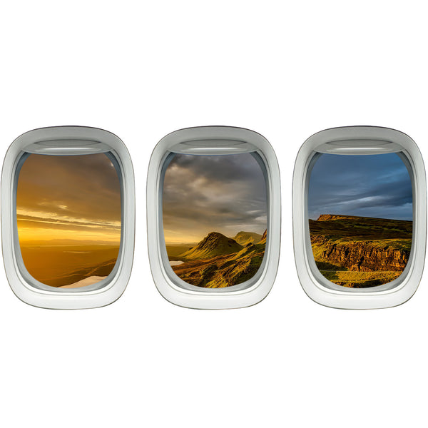 VWAQ Pack of 3 Nature Scenery Aviation Decor Airplane Windows Wall Decals Porthole - PPW3 - VWAQ Vinyl Wall Art Quotes and Prints