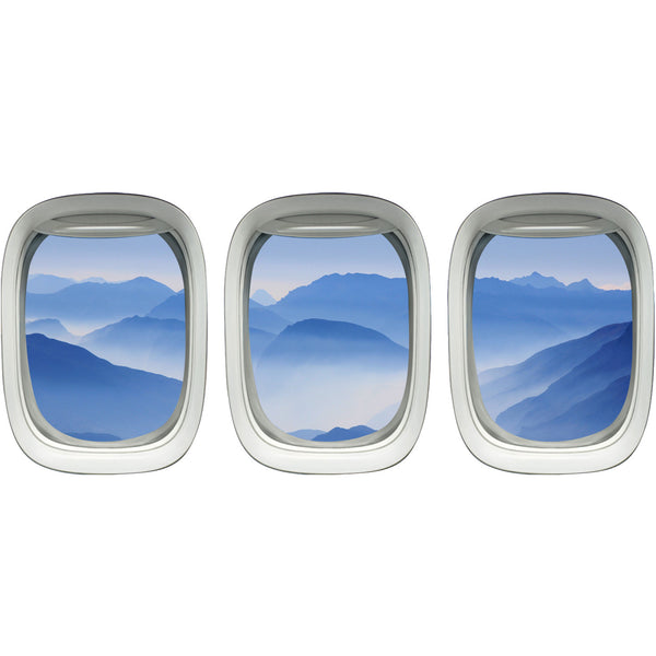VWAQ Pack of 3 Airplane Window Mountain View Peel and Stick Vinyl Wall Decals - VWAQ Vinyl Wall Art Quotes and Prints no background