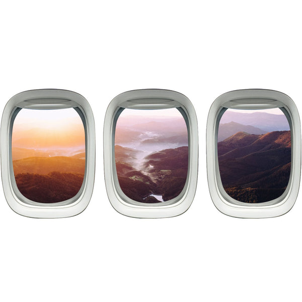 VWAQ Pack of 3 Landscape Wall Stickers Airplane Window Decals Kids Room Decor - VWAQ Vinyl Wall Art Quotes and Prints no background