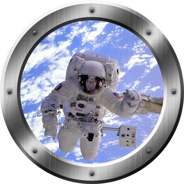 VWAQ Astronaut Wall Decals For Kids - 3D Outer Space Porthole Stickers For Wall, Spaceman Decal - PS15 - VWAQ Vinyl Wall Art Quotes and Prints