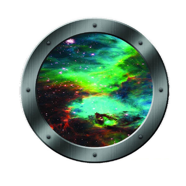 VWAQ Peel and Stick Galaxy Spaceship Porthole Window Vinyl Wall Decal - PS3 no background