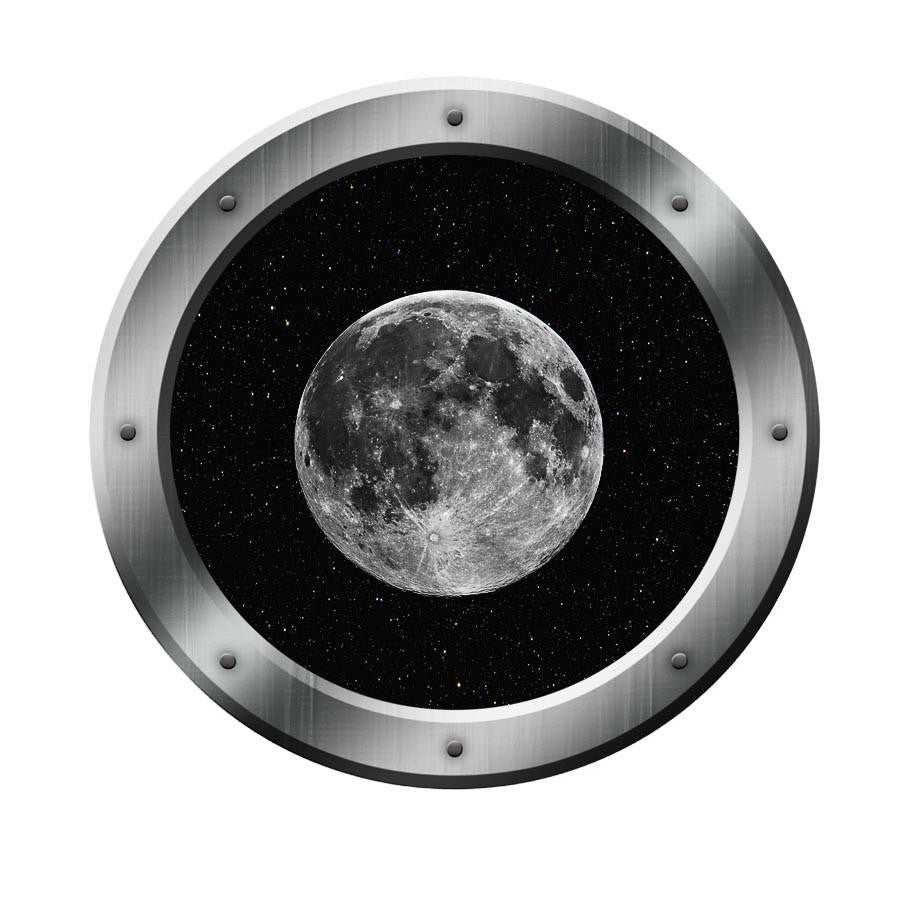 Space Ship Porthole Moon Decal Outer Space Window  Graphics Room PS5 Wall Decal
