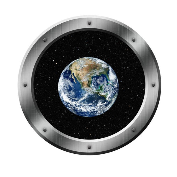 VWAQ Spaceship Porthole Window Earth View Peel and Stick Vinyl Wall Decal - VWAQ Vinyl Wall Art Quotes and Prints no background