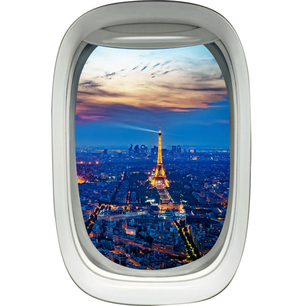 Airplane Window Paris Eiffel Tower View Peel and Stick Vinyl Wall Decal - PW11 - VWAQ Vinyl Wall Art Quotes and Prints