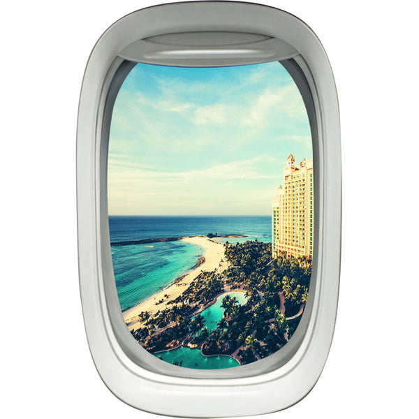 Beach Resort Aerial View Airplane Window Wall Decal - PW14 - VWAQ Vinyl Wall Art Quotes and Prints