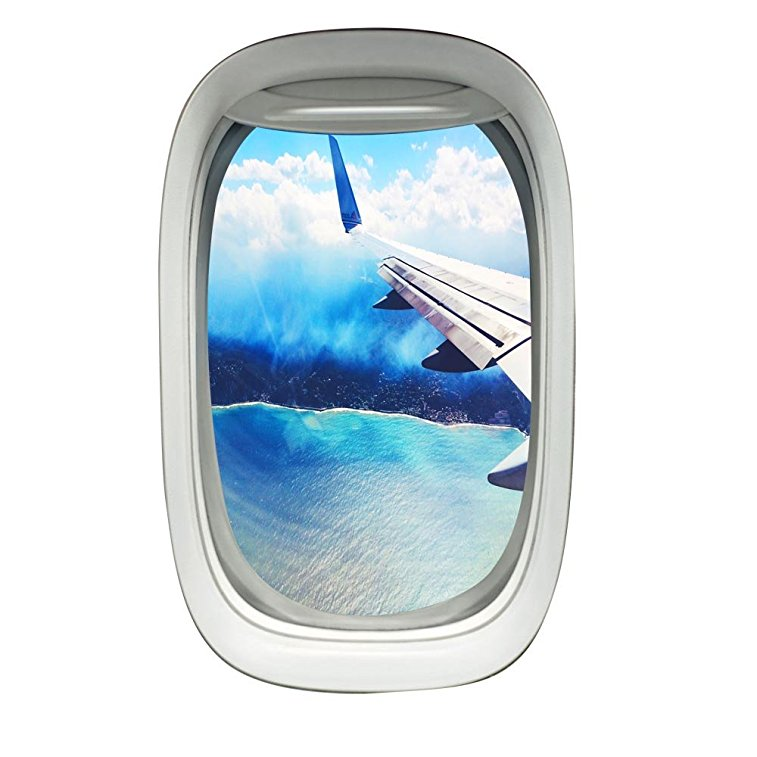Vwaq Peel And Stick Airplane Window Wing View Vinyl Wall Decal Pw22
