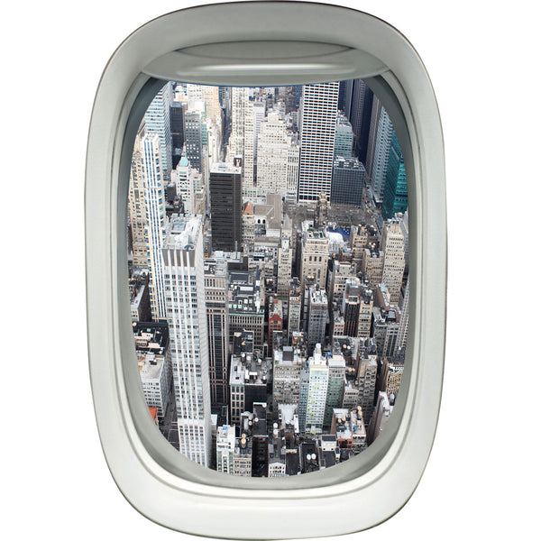 Airplane Window Decal NY City Skyline View Peel and Stick Decal - PW2 - VWAQ Vinyl Wall Art Quotes and Prints