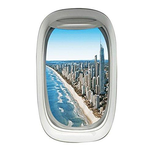 Airplane Window City Beach View Peel and Stick Vinyl Wall Decal - PW4 - VWAQ Vinyl Wall Art Quotes and Prints