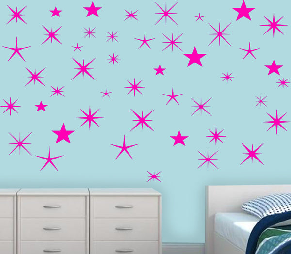 VWAQ Wall Sticker Art Clings - Assorted Stars Vinyl Decal, Peel And Stick - VWAQ Vinyl Wall Art Quotes and Prints