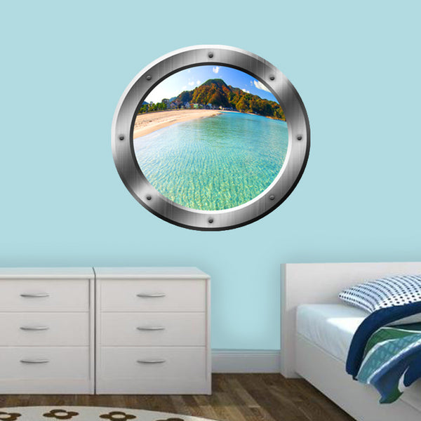 VWAQ Island Beach Mountain View Silver Porthole Peel and Stick Vinyl Wall Decal - VWAQ Vinyl Wall Art Quotes and Prints