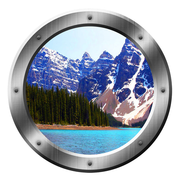 VWAQ Peel & Stick Snowy Mountain Lake View Silver Porthole Vinyl Wall Decal - VWAQ Vinyl Wall Art Quotes and Prints no background