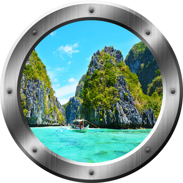 VWAQ Ocean Mountain View Silver Porthole Peel and Stick Vinyl Wall Decal - VWAQ Vinyl Wall Art Quotes and Prints no background