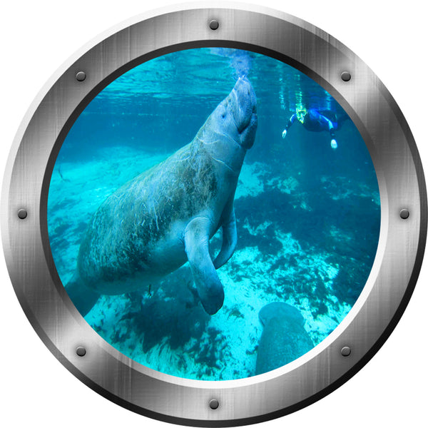 VWAQ Underwater Manatee Silver Porthole Peel and Stick Vinyl Wall Decal no background