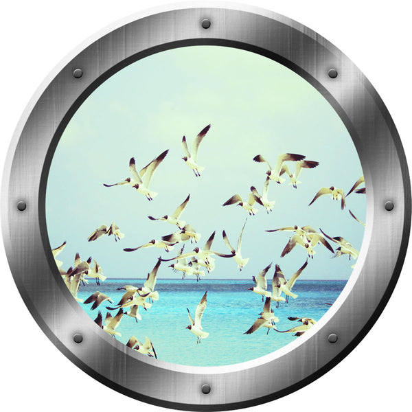 VWAQ Seagulls Ocean Peel and Stick Window Porthole Vinyl Wall Decal - SP37 - VWAQ Vinyl Wall Art Quotes and Prints