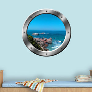 VWAQ Ocean Cliff View Silver Porthole Window Peel and Stick Vinyl Wall Art Decal - VWAQ Vinyl Wall Art Quotes and Prints
