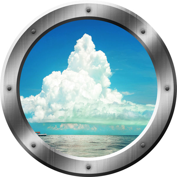 VWAQ Ocean and Clouds View Peel and Stick Silver Porthole Vinyl Wall Decal - VWAQ Vinyl Wall Art Quotes and Prints no background