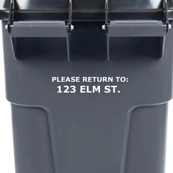 VWAQ Garbage Can Decal Return To Address Label TC1