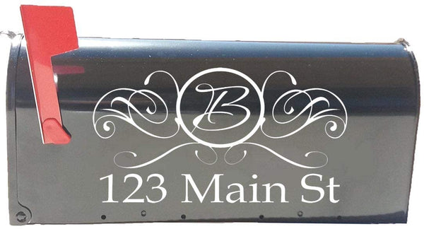 VWAQ Monogram Mailbox Decal and Street Name Address Mailbox Lettering - TTC15