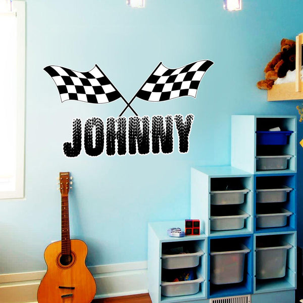 VWAQ Racing Wall Decals for Boys Room Custom Name Flag and Name Racing Sticker - TTC1-P