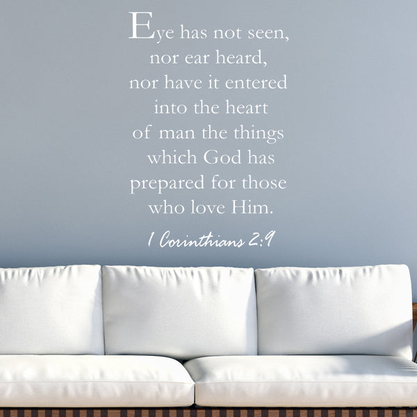 VWAQ Eye Has Not Seen Ear Has Not Heard Bible Wall Quotes Decal - VWAQ Vinyl Wall Art Quotes and Prints