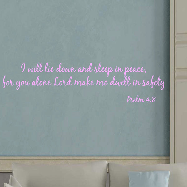 VWAQ I Will Lie Down and Sleep in Peace Psalm 4:8 Bible Vinyl Wall Decal - VWAQ Vinyl Wall Art Quotes and Prints