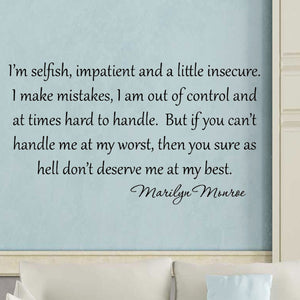 VWAQ I'm Selfish Impatient and a Little Insecure Marilyn Monroe Vinyl Wall Decal - VWAQ Vinyl Wall Art Quotes and Prints