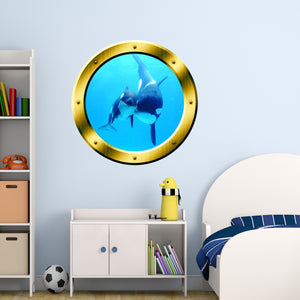 VWAQ Underwater Orca Whale Gold Window Porthole Peel And Stick Vinyl Wall Decal - GP4