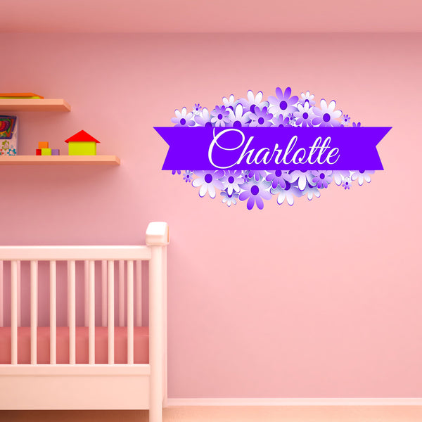 VWAQ Custom Flower Name Wall Decal - Customized Name Decals for Girls Rooms, Personalized Vinyl Wall Art Kids Decor - NS2 - VWAQ Vinyl Wall Art Quotes and Prints