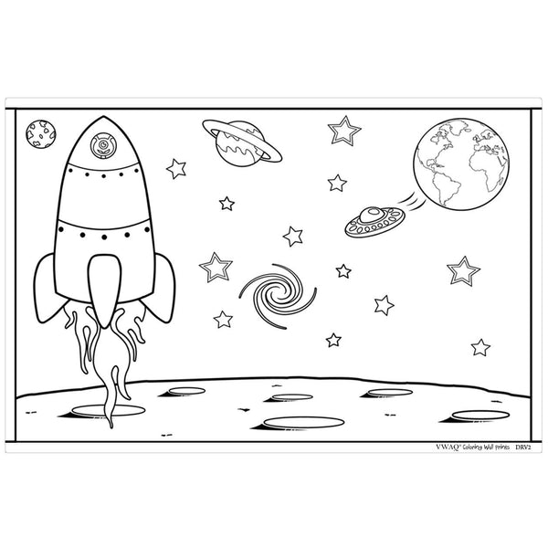 VWAQ Coloring Wall Prints - Outer Space Dry Erase Whiteboard Wall Decal - DRV2 - VWAQ Vinyl Wall Art Quotes and Prints