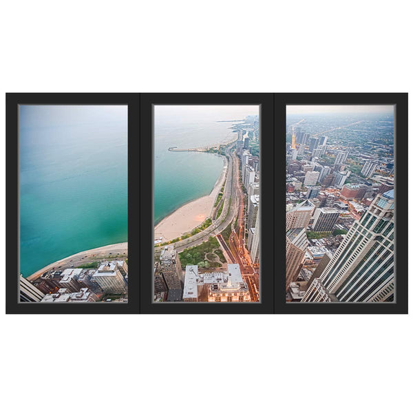 VWAQ - Office Window Sticker Beach View Wall Decal Removable Reusable Vinyl Mural - OW02 - VWAQ Vinyl Wall Art Quotes and Prints
