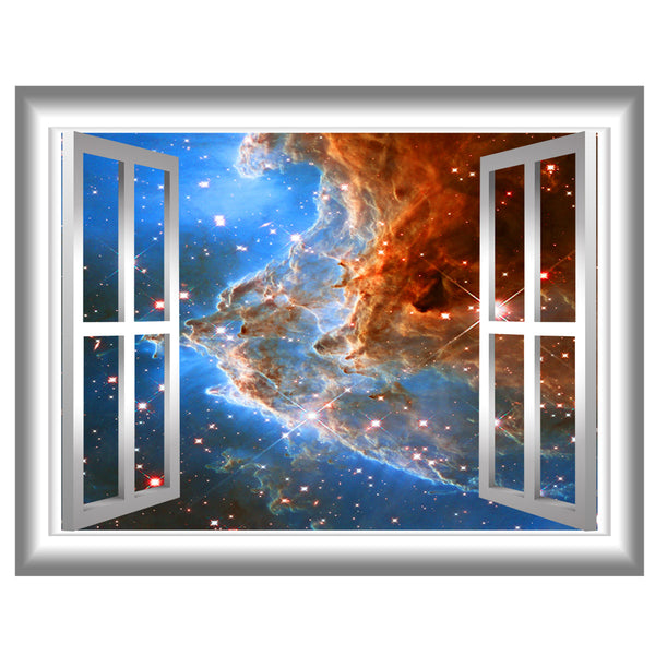 VWAQ Galaxy Window Vinyl Decal - Space 3D Peel And Stick Wall Sticker - GJ92 - VWAQ Vinyl Wall Art Quotes and Prints
