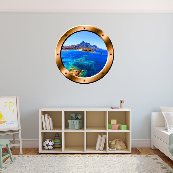 VWAQ Ocean Side Cliff View Bronze Porthole Peel and Stick Vinyl Wall Decal - BP11