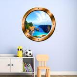 VWAQ Tropical Cove Rocky Scene Silver Window Porthole Peel & Stick Vinyl Wall Decal - BP12 - VWAQ Vinyl Wall Art Quotes and Prints
