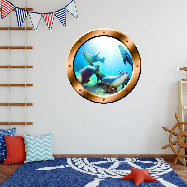 VWAQ Underwater Seal Scene Bronze Porthole Peel And Stick Vinyl Wall Decal - BP1