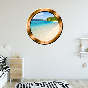 VWAQ Sandy Beach Wall Decal Porthole 3D Wall Sticker Peel And Stick Decor - BP20 - VWAQ Vinyl Wall Art Quotes and Prints