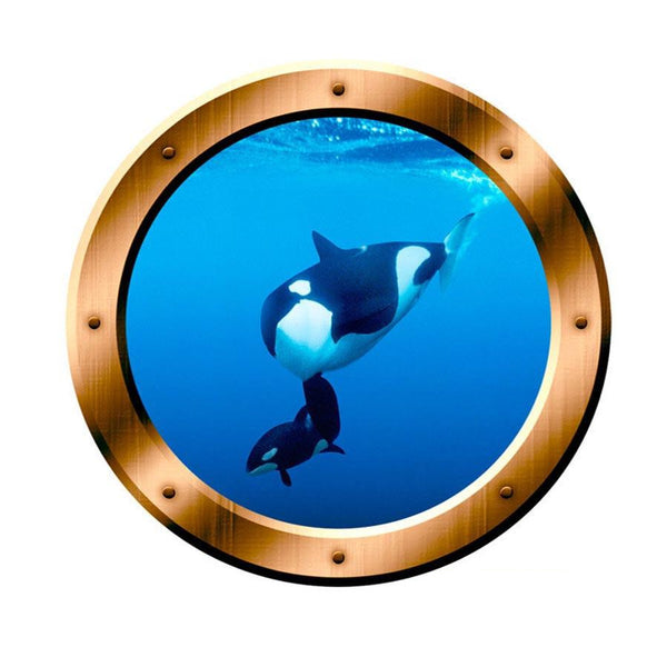 VWAQ Underwater Orca Whale Bronze Porthole Peel N Stick Vinyl Wall Decal - VWAQ Vinyl Wall Art Quotes and Prints no background