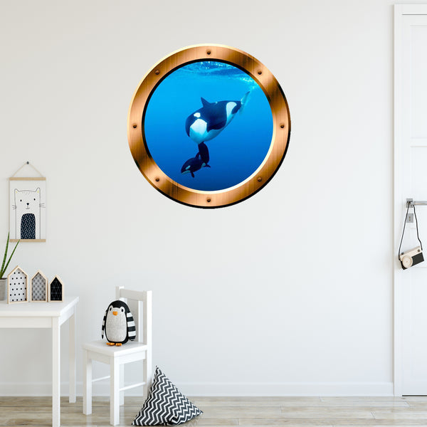 VWAQ Underwater Orca Whale Bronze Porthole Peel and Stick Vinyl Wall Decal - BP3